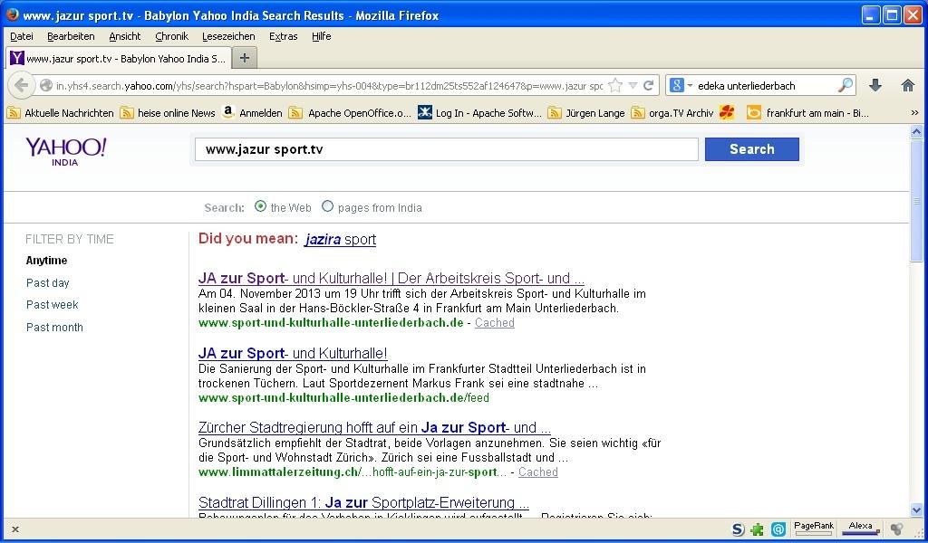 Suchergebnis aus Yahoo-India: Auch so kann man sich zur Sport- und Kulturhalle Unterliederbach verirren.